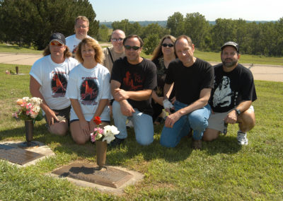 David Polhemus, Jay Denne, Chris Polhemus, Todd Seely, Jeff Erbe, Linda Foens, John Herdt and Reed Wilson at Tommy Bolin's grave. August 10, 2002.