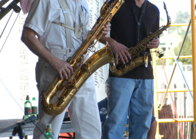 David Napier and John Birch with the Bobby Berge Project at the 2002 Tommy Bolin Music Festival. August 10, 2002.